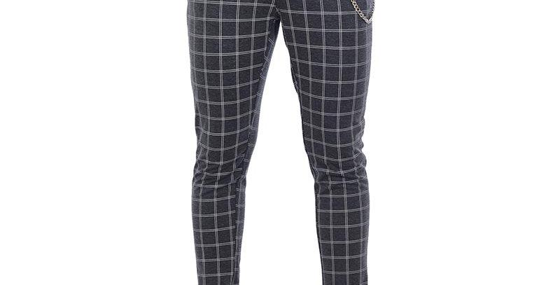 Pantalon carrot fit cuadros dobles