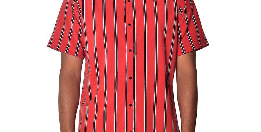 Camisa beisbolera regular fit rayas roja
