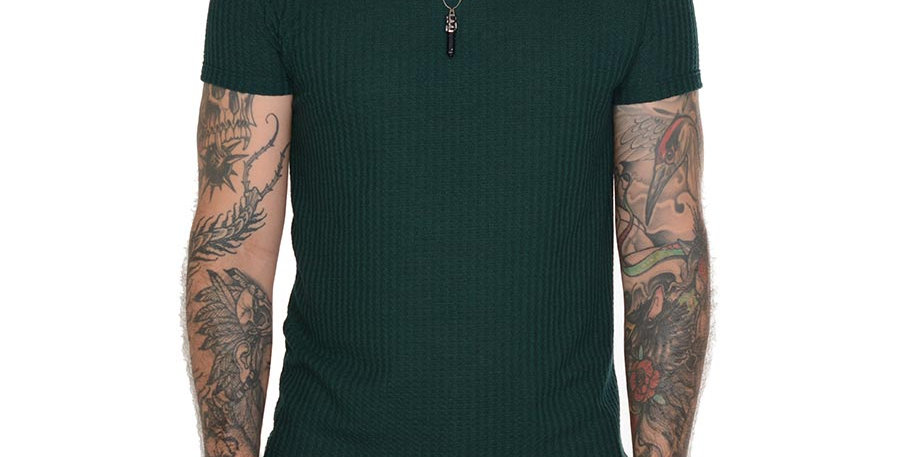 Camiseta tejida slim fit verde esmeralda