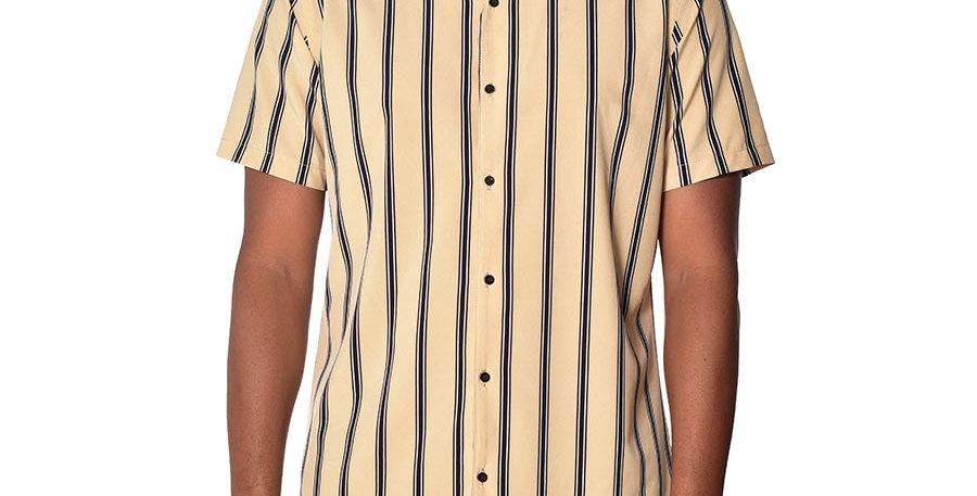 Camisa beisbolera regular fit rayas beige