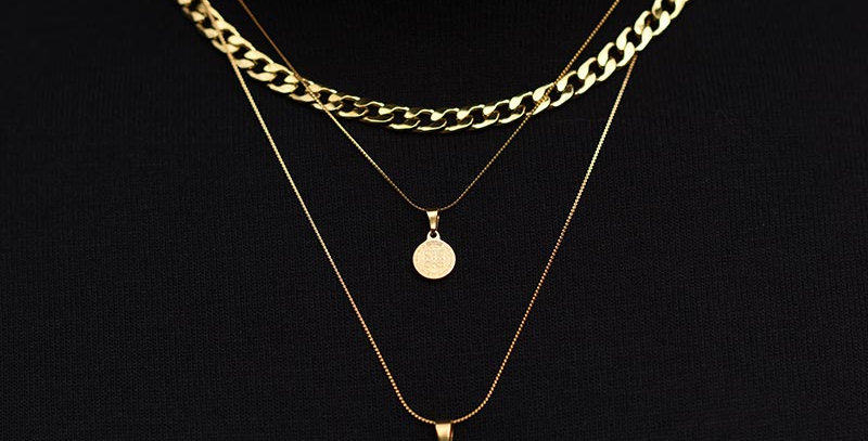 Set 3 collares dorados key + benedict