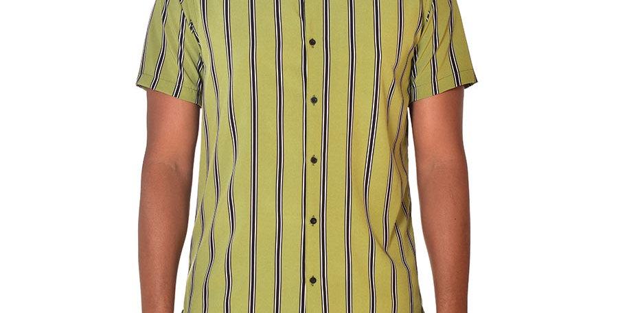 Camisa beisbolera regular fit rayas verde