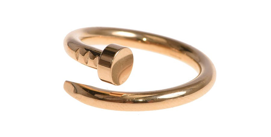 Twisted nail ring gold