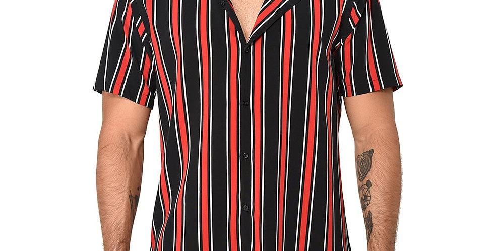 Camisa regular rayas verticales cuello bowling