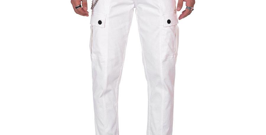 Pantalon cargo blanco en dril