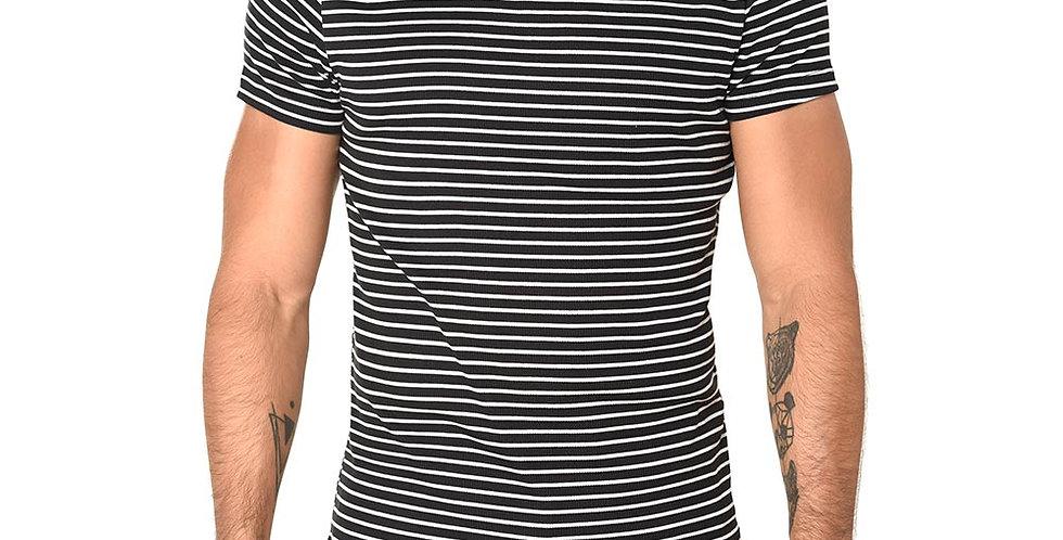 Camiseta striped negra slim fit