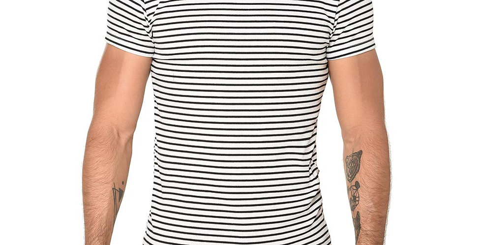 Camiseta striped blanca slim fit