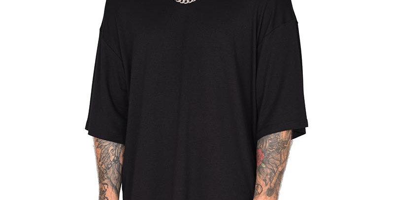 Camiseta boxy fit oversize extragrande negra