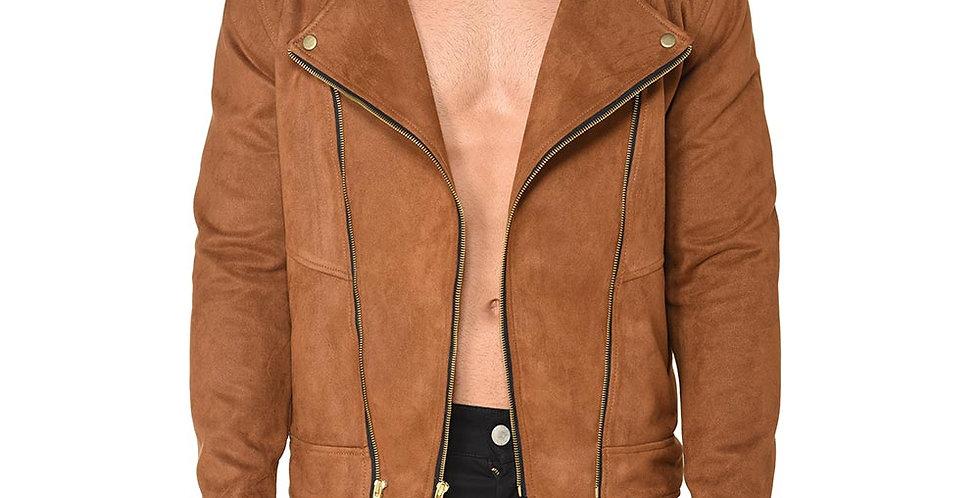 Biker jacket tobacco brown