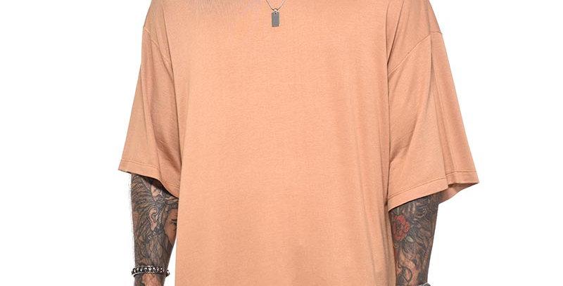 Camiseta boxy fit oversize extragrande beige