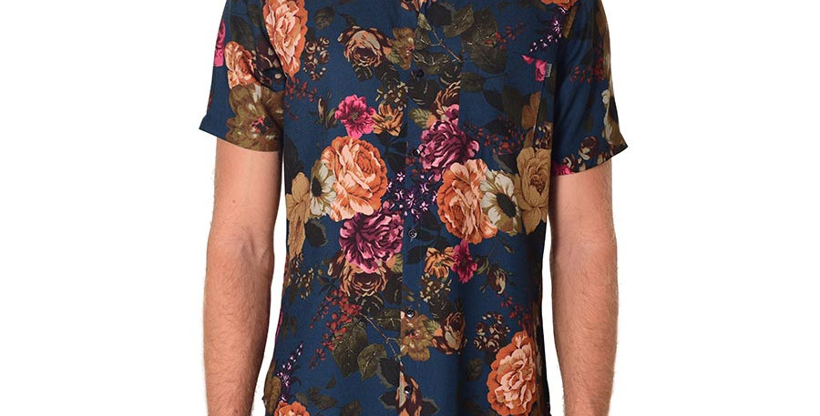 Camisa regular fit floral print blue