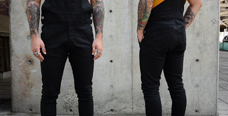 Overall skinny negro en dril stretch