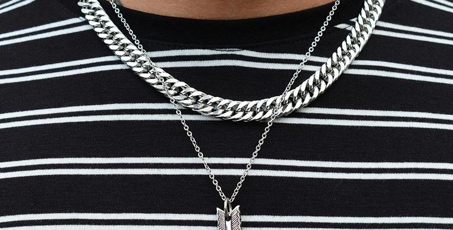 Set 2 collares 48cm + dije arrow silver