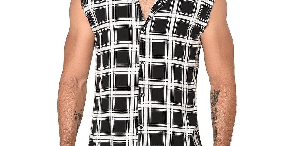 Camisa slim fit cuadros sin mangas