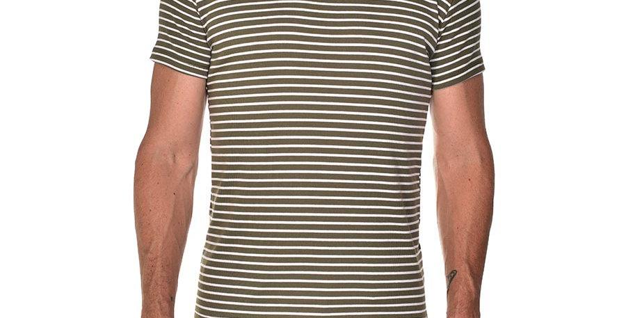 Camiseta striped verde army slim fit