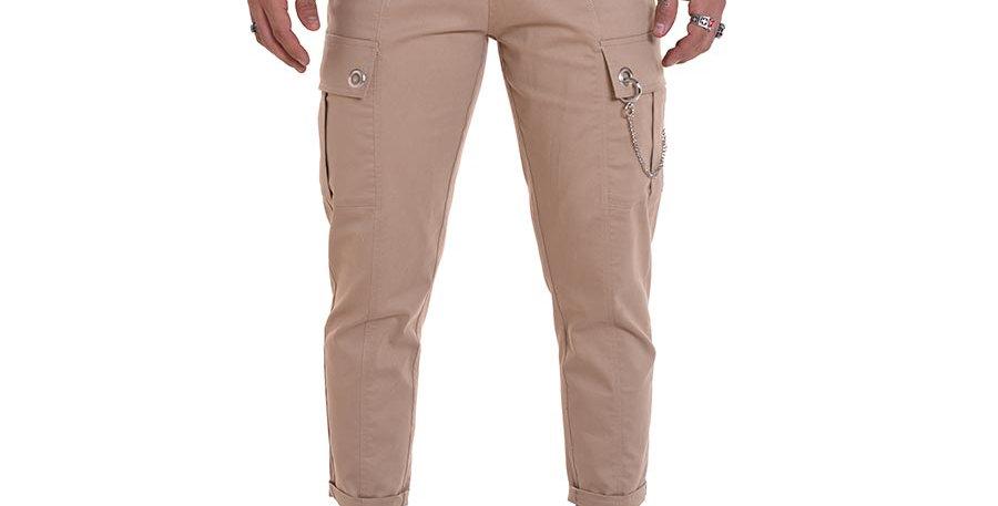 Pantalon cargo beige en dril