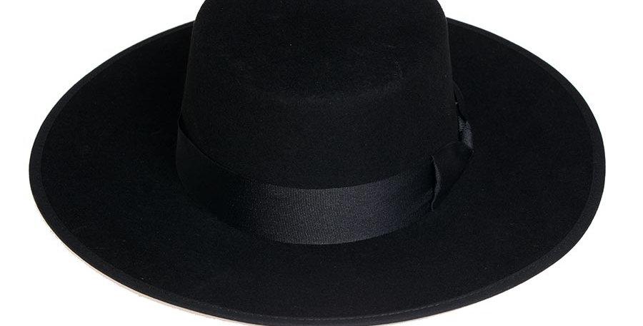 Sombrero cordobes negro extralargo copa alta