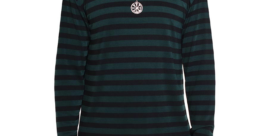 Camiseta verde rayas long sleeve