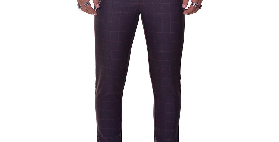 Pantalon carrot fit cuadros vino