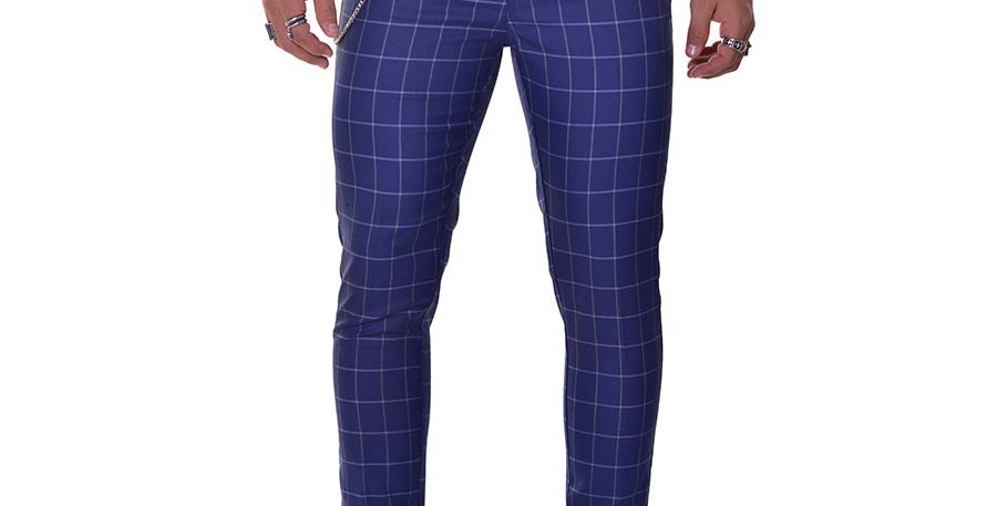 Pantalon carrot fit cuadros azul