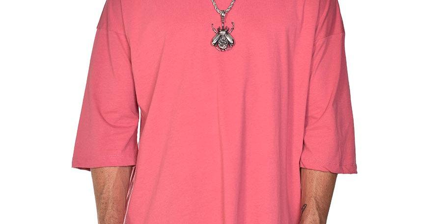 Camiseta boxy fit oversize rosa