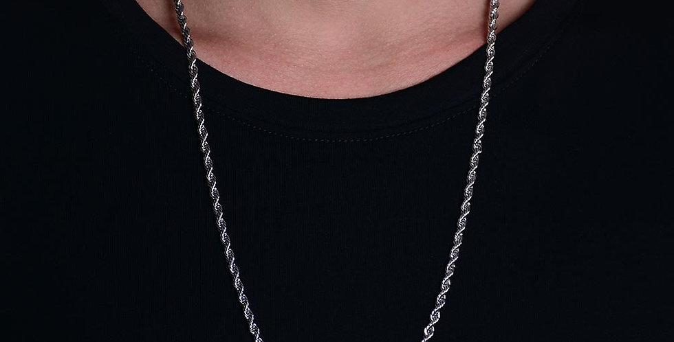Collar trenzado plateado 60cm