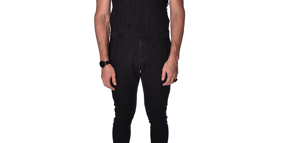 Overall skinny gris oscuro en dril stretch