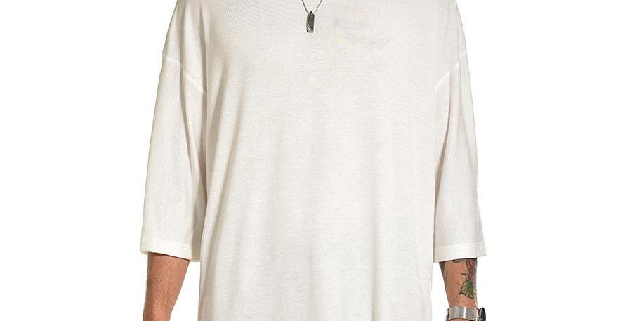 Camiseta boxy fit oversize extragrande blanco marfil