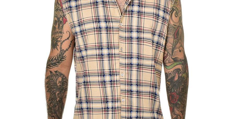Camisa sleeveless cuadros beige