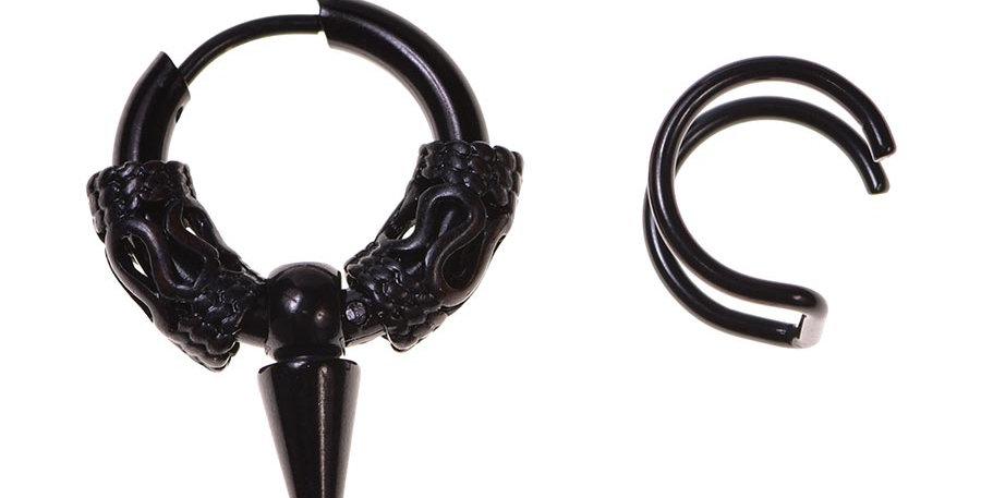 Arete pike + earcuff negro
