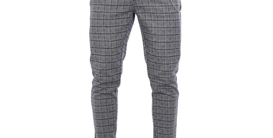 Pantalon carrot fit tartan gris