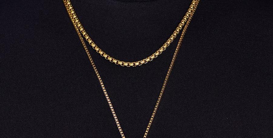 Set 2 collares tungsteno dorados