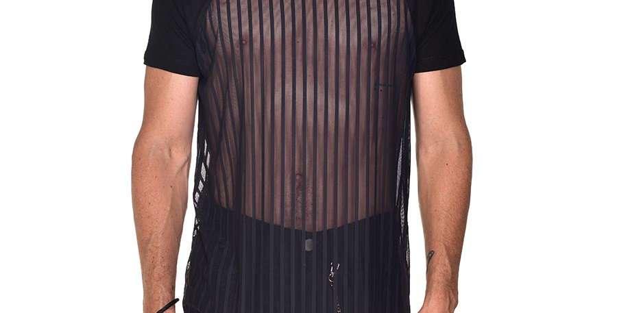 Camiseta manga ranglan de rayas transparente