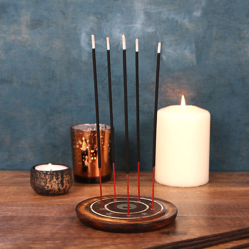 Mango wood incense holder with brass inlay