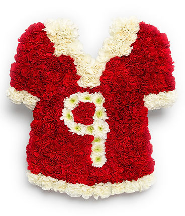 floral football shirt arrangement