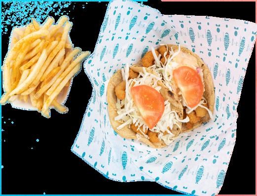 fried white pollock or popcorn shrimp tacos (2 pcs) + 1 side
