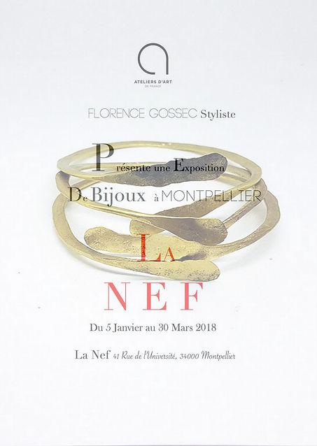 Exposition de bijoux Florence Gossec Galerie d'art La Nef à Montpellier du 5 Janvier au 30 Mars 2018