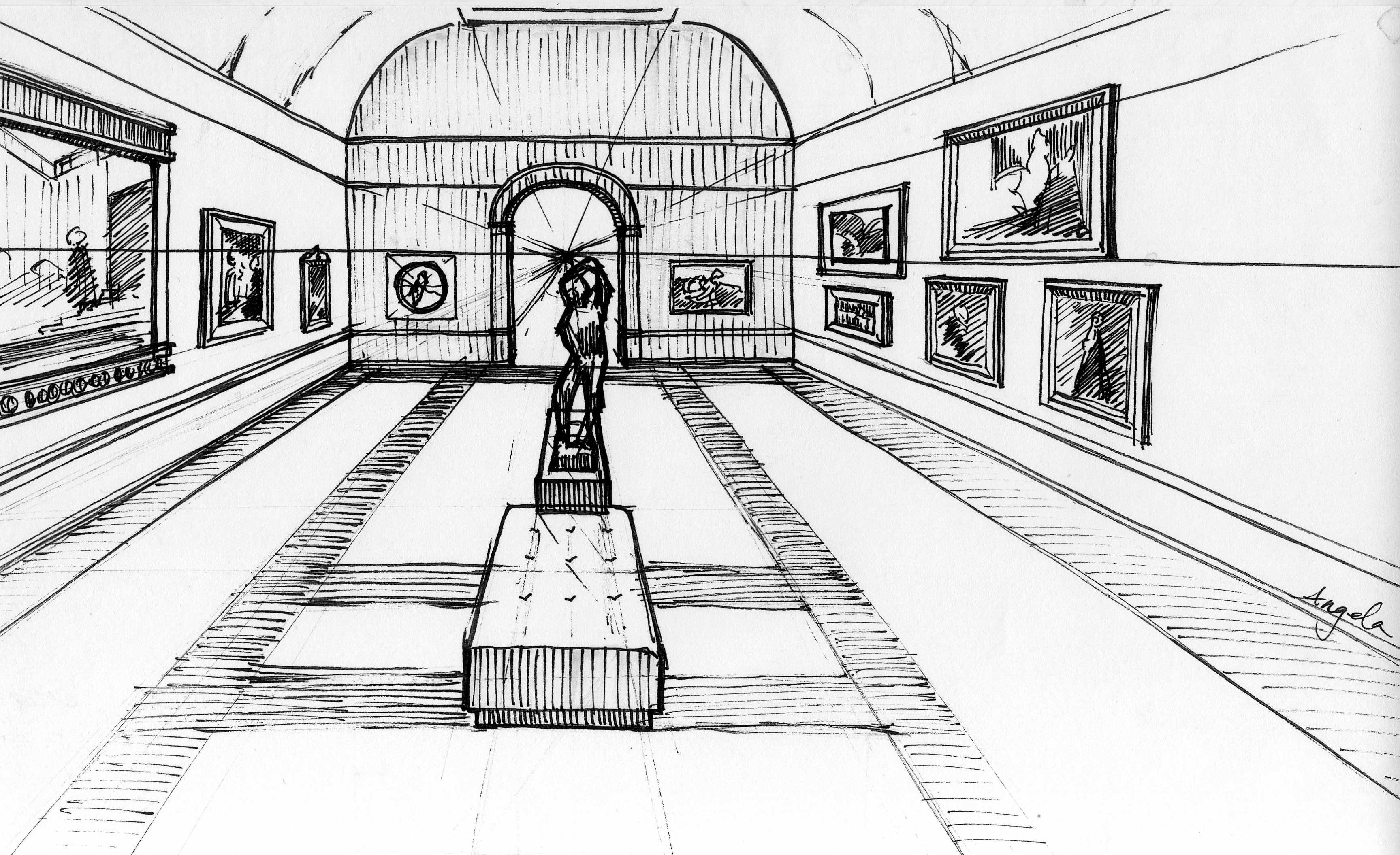 Museum Interior - Hand Sketch