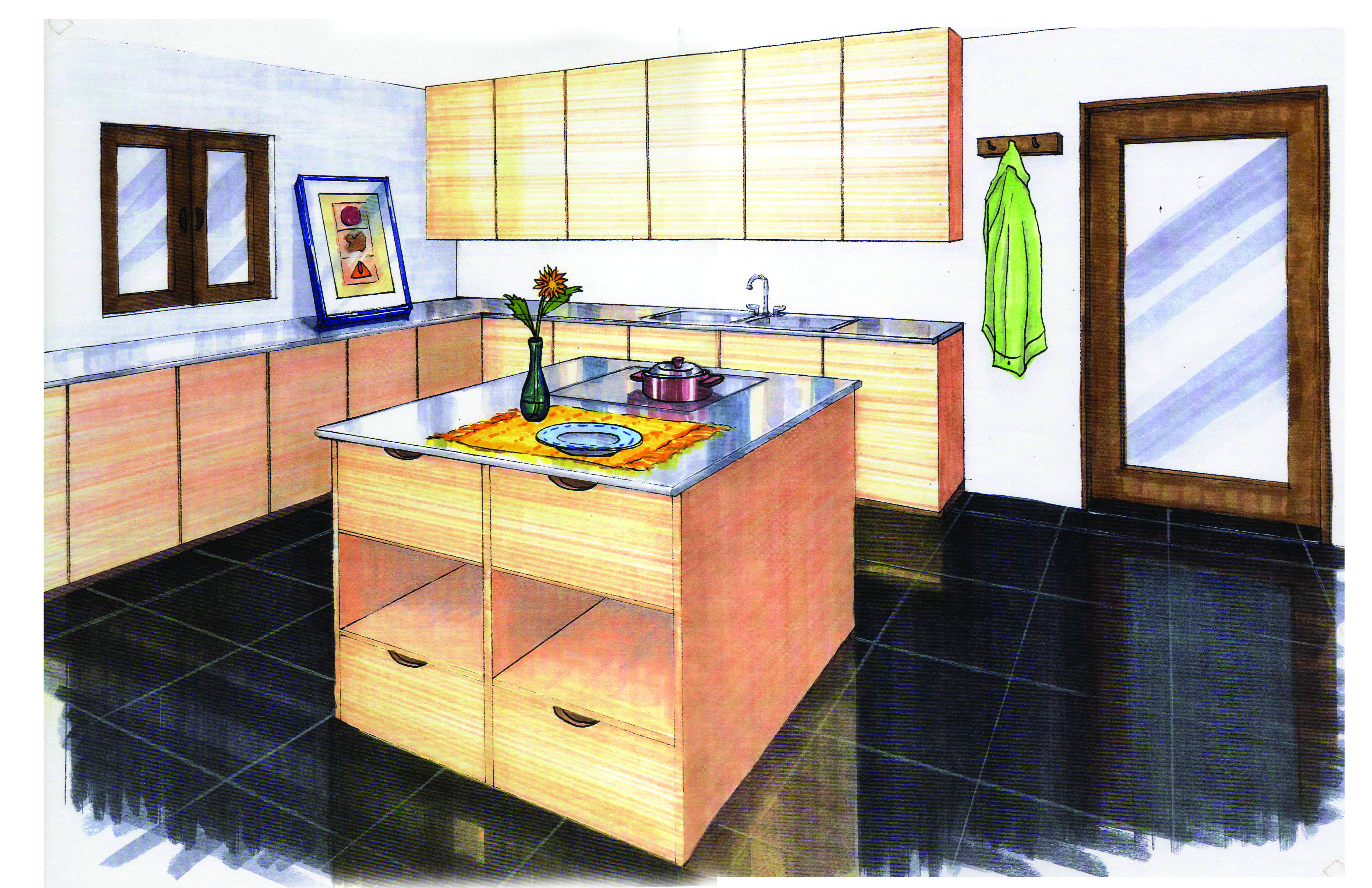 Kitchen Design - Hand Rendering