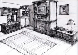 Living Room Design - Hand Sketch