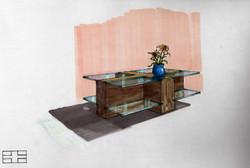 Coffee Table Design - Hand Rendering