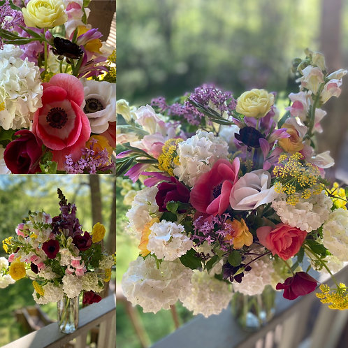 Arrangement in glass vase for delivery May 6 & 7