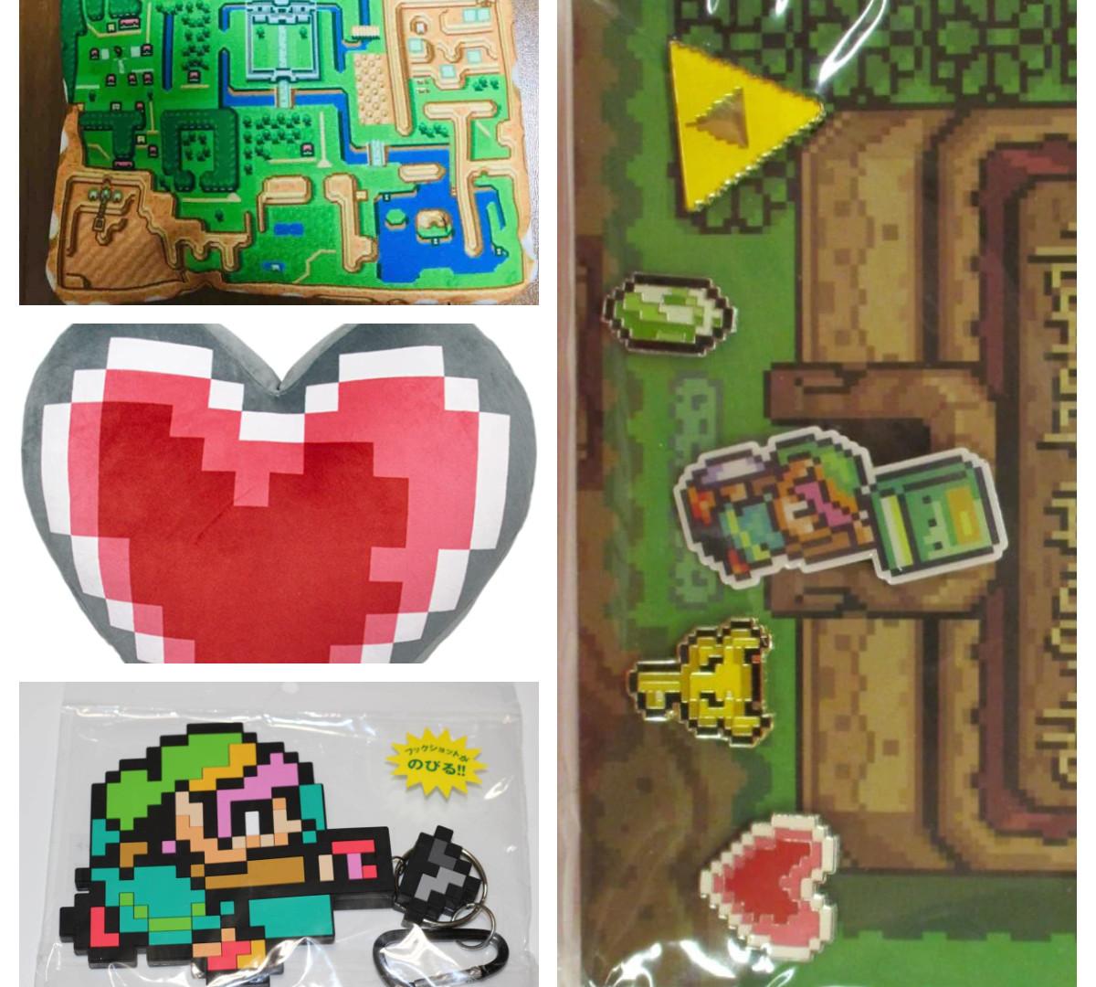 Goods officiels Nintendo Legend of Zelda 1. Pochette Hyrule map 15x15cm  2. Gros coussin Heart 3. Trousseau carte avec mousqueton 4. Lot de 4 pins