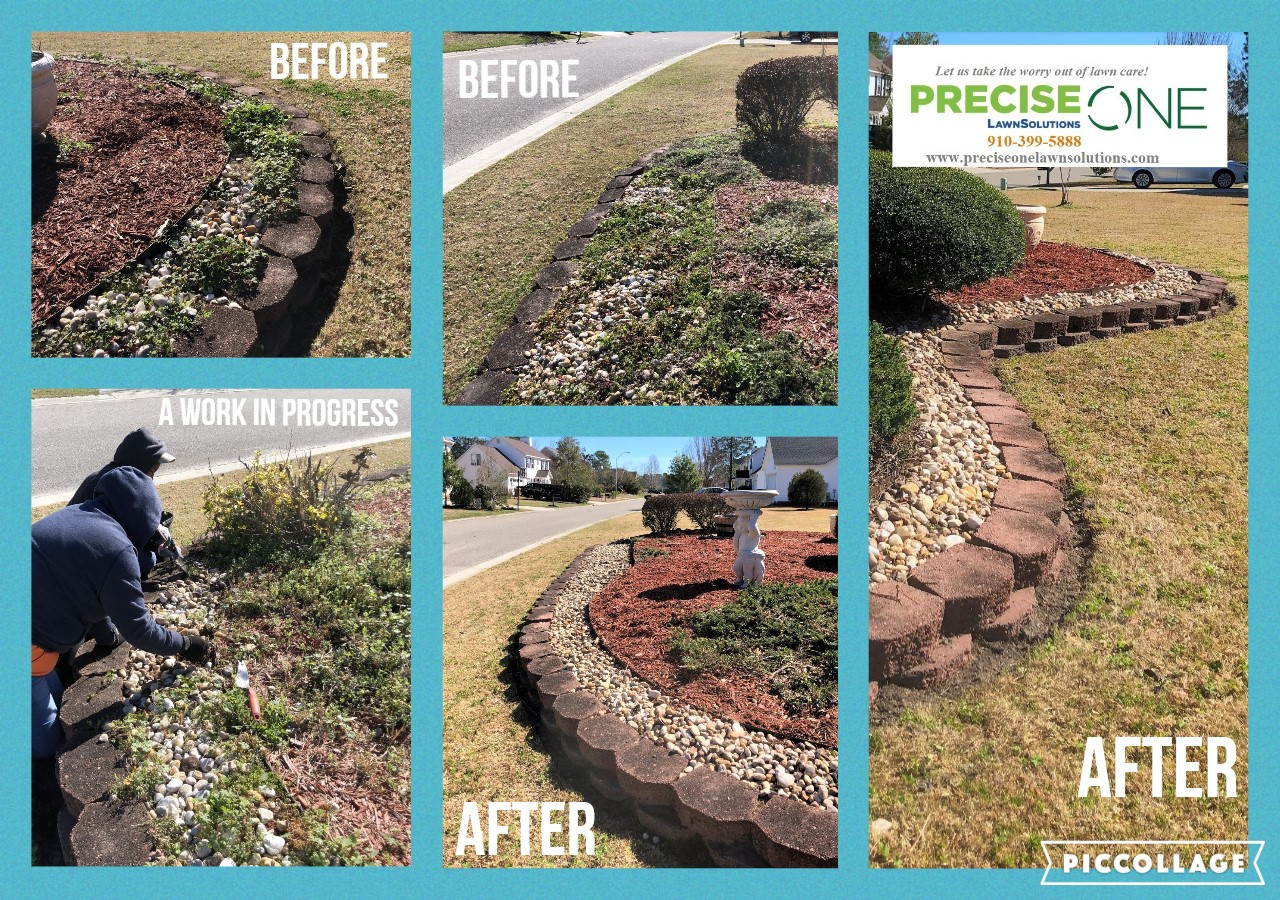 Flower Bed Weeding Before & After
