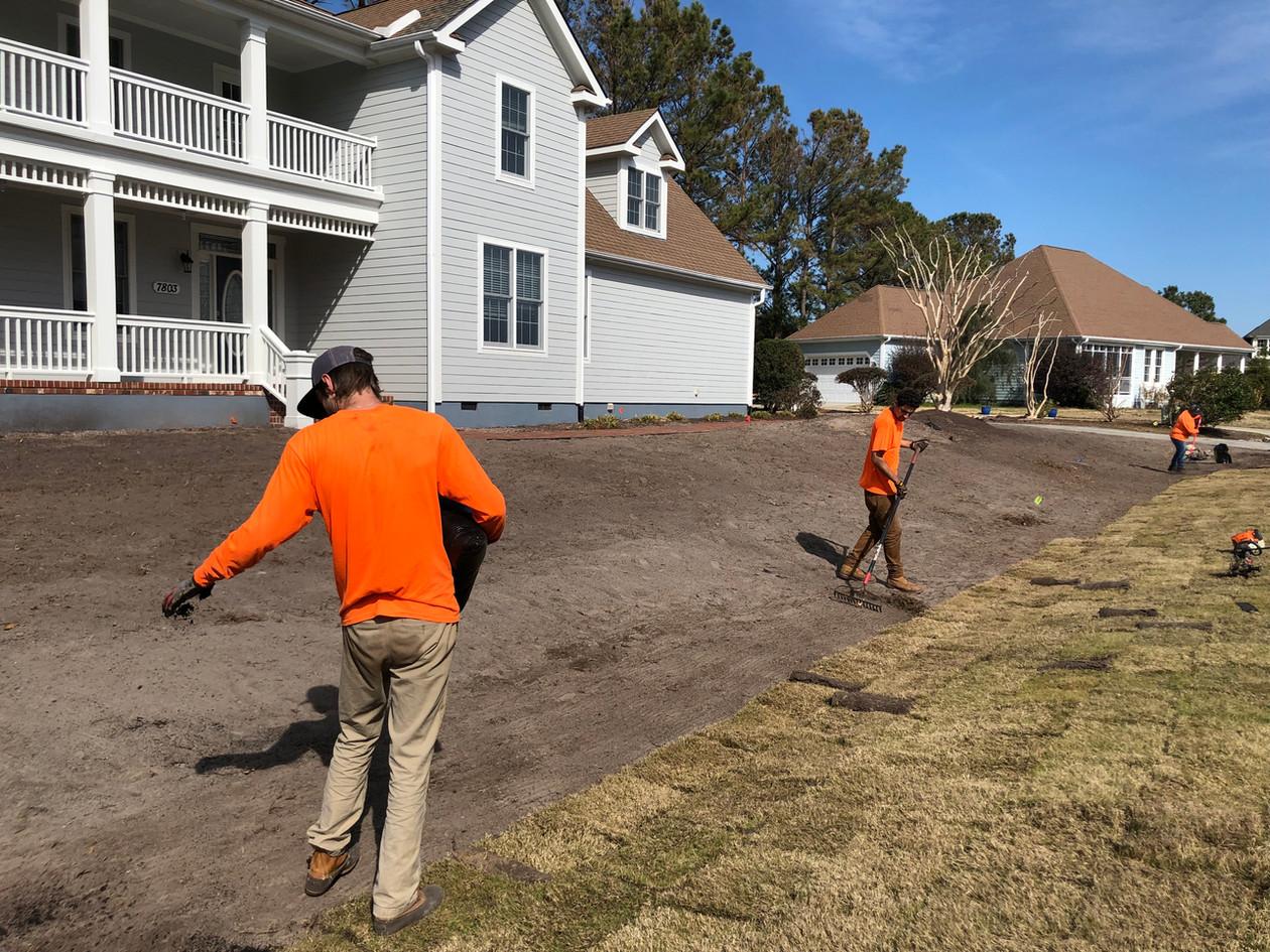 Each yard gets a special fertilizer to help the grass get a good start.