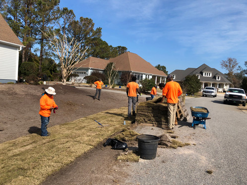 Our landscaping crew will have this yard done in no time.