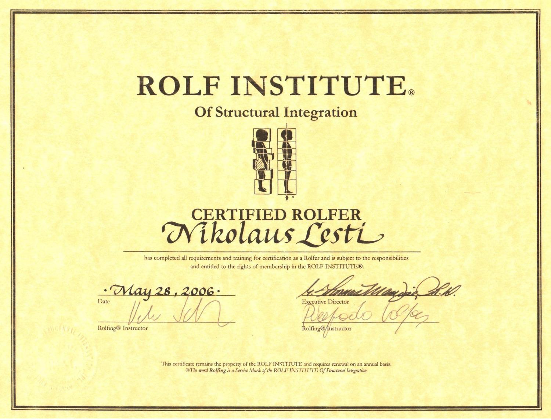 Rolfing Certificate