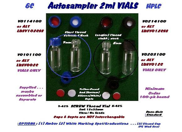2ml Vials;12X32mm, Clear,NoMark; 9-425Screw, Agilent AS