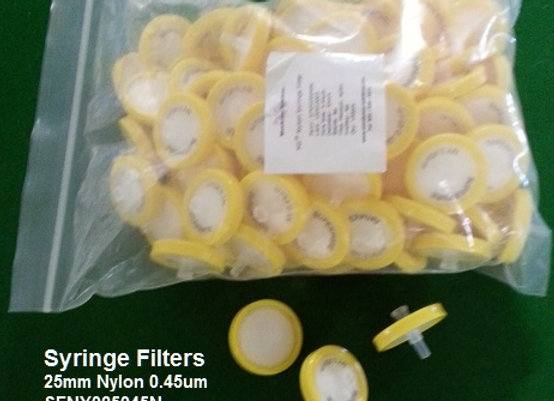 Syringe Filters 25mm 0.45um Nylon