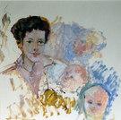 Bildnis Mutter F. mit Kindern, 1961